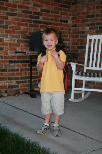 Isn't he precious?  First day at his new school.
